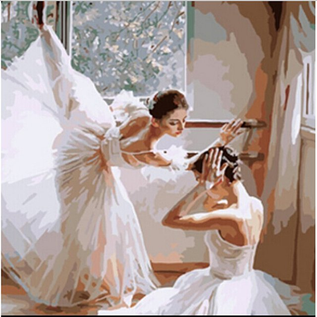 Ballet dancer Hand painted acrylic oil paintings wall pictures for living room Coloring by numbers cuadros decoracion H526