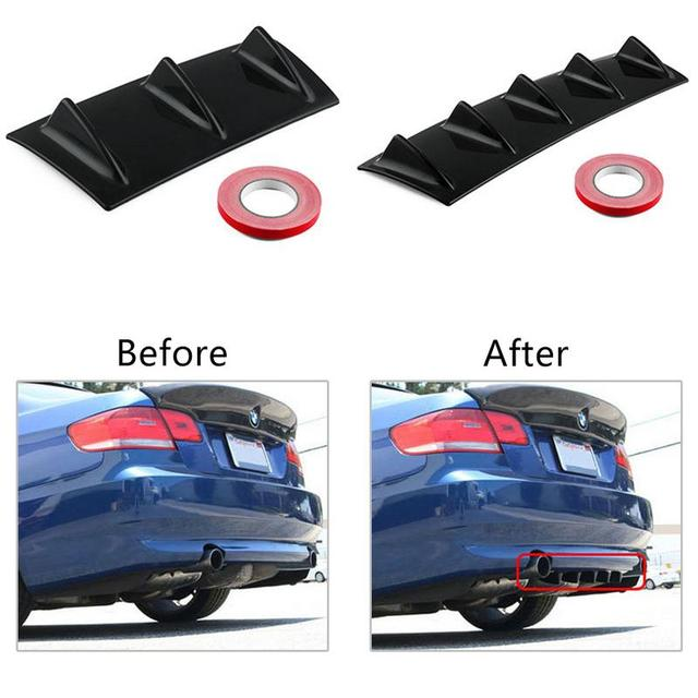 Car Rear Bumper Chassis Shark Fin 7 Wings Deflector Modified Spoiler For Fiat 500 Punto Chevrolet Cruze Aveo Peugeot 206