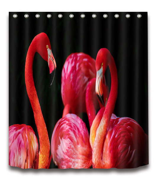 72'' Custom Vintage Deep Red Color Flamingos Long Bathroom Shower Curtain Polyester Bathroom Waterproof Curtain & 12 Hooks