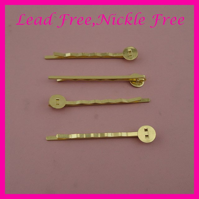 """50PCS 2.0mm*5.0cm 2.0"""" Golden plain Waved Metal bobby pins Slide hair barrettes with 8mm pads at nickle free and lead free"""