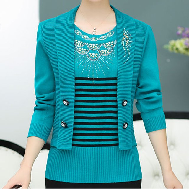 Spring new women's sweater loose casual fashion pullover sweater plus size blue pullovers