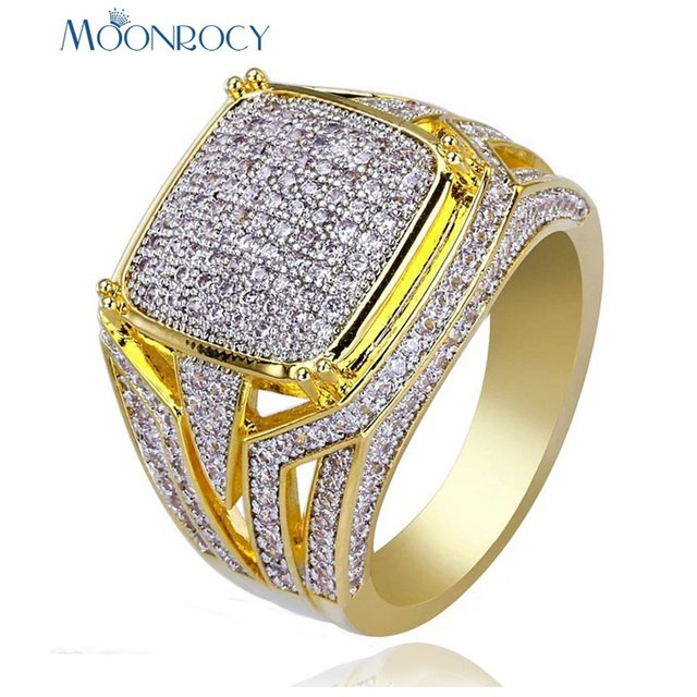 MOONROCY Vintage Gold Color CZ Crystal Rings for Men Square Cubic Zirconia Big Size Drop Shipping Jewelry Wholesale Gift