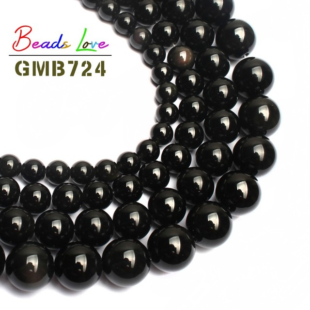 """Hot Sale 15.5"""" natural Black Obsidian Beads 4,6,8,10,12mm Round Loose Beads for Jewelry Making Diy Bracelet Necklace Wholesale"""