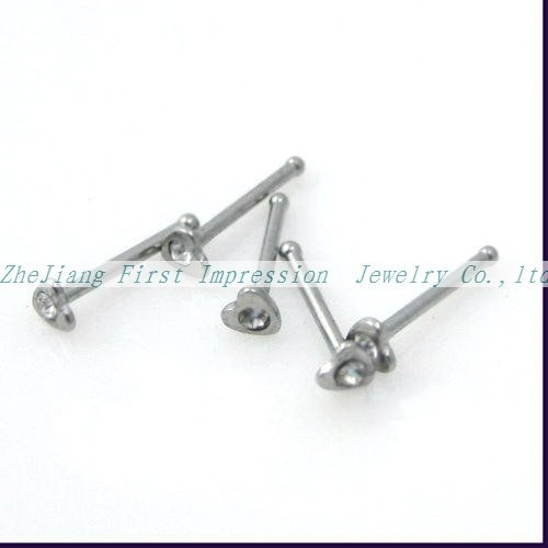 New Arrival Hot sale nose ring Nose piercing Heart Nose studs Free shipping 100pcs/lot