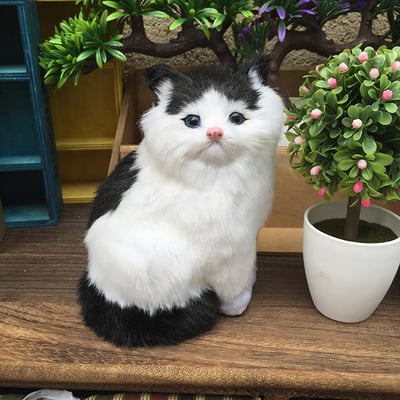 about 12x18cm black&white cat model,polyethylene&furs artifical handicraft Figurines & Miniatures home decoration toy gift a2978