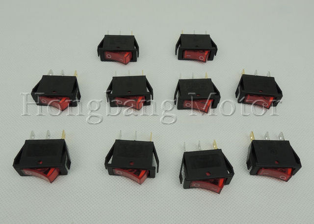 Free shipping!50Pcs/Lot 3 Pin Red Light ON / OFF Rocker Switch push button switch 250V 15A 125V20A