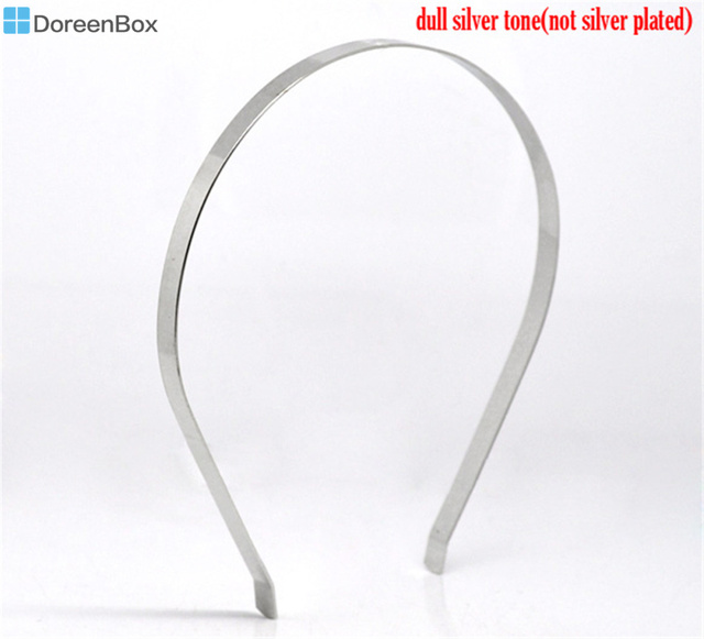 Doreen Box hot-  10 Silver Color Headbands Hair Band 14.5x13.5cm 7mm wide (B12707)