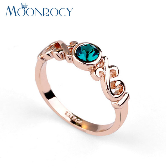 MOONROCY Free shipping Cubic Zirconia Fashion Jewelry Wholesale Rose Gold Color Green Crystal Rings Wedding for Women Gift
