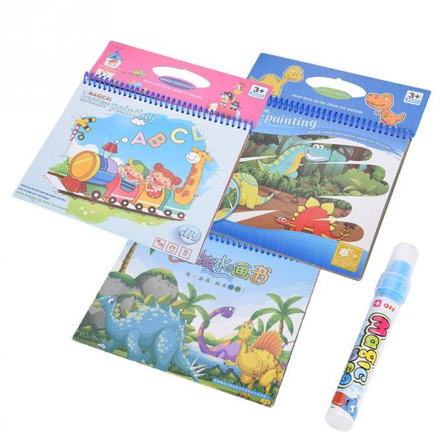 Portable Magic Water Coloring Book With Children Drawing Doodle Book Early Learning Educational Toys For Children Gift