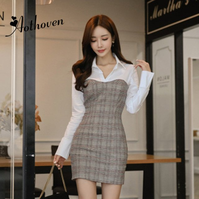 2019 Spring Patchwork Pencil Plaid Dress Women Long Sleeve Turn-down Collar Shirt Mini Dress Office Lady Elegant Work Dresses