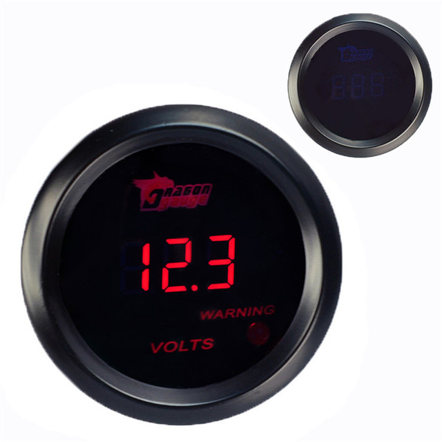 New Black 2 1/16 inch 52mm Car Motor Digital Red LED Volt Voltage Gauge Car Styling Instrument Meter Auto Gauge Free Shipping