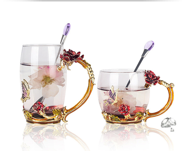 Luxury Enameled Crystal Glass of rose heat-resistant Tea Cup come with Spoon Tea Milk Mug Wedding Gifts 330ml 350ml couples gift