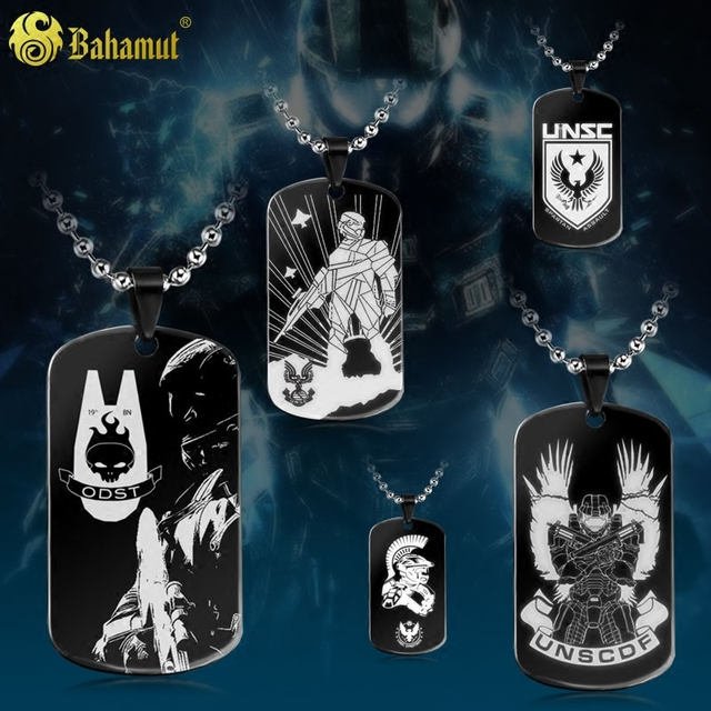 Bahamut Game Jewelry Halo ODST UNSC Army Dog Tag Necklace Pendant Free With Chain Spartan Assault Titanium Steel Necklace Gift