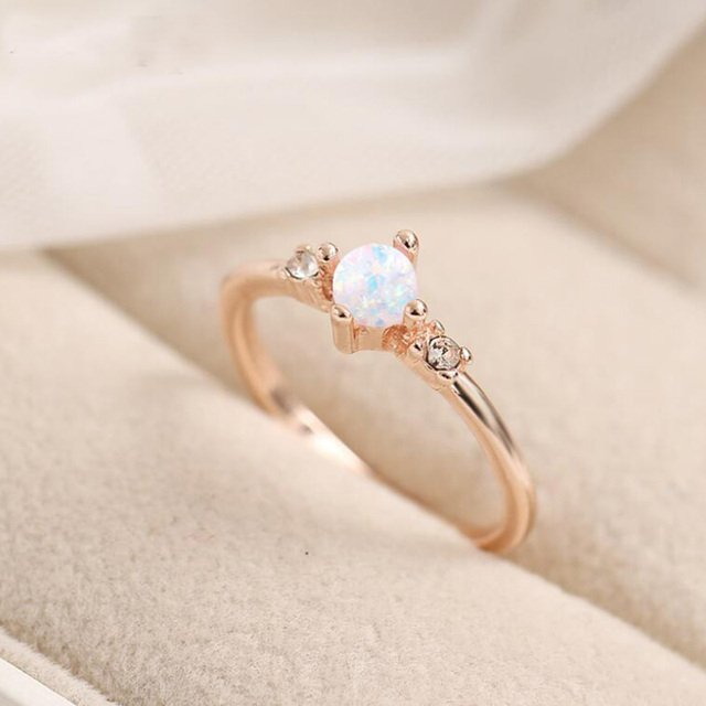 Small Stone Fire Opal Thin Rainbow Rings For Women Rose Gold Cubic Zircon Birthstone Rhinestone Simple Rings anel Jewelry