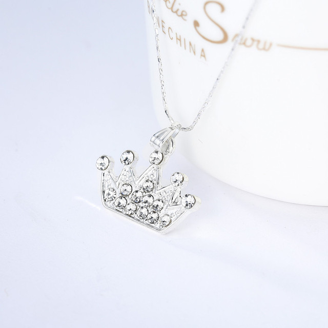 ZCHLGR New crystal Pendants Necklace For Women Crystal Crown  Heart Sliver Color Long Necklaces Fashion Jewelry Christmas Gift