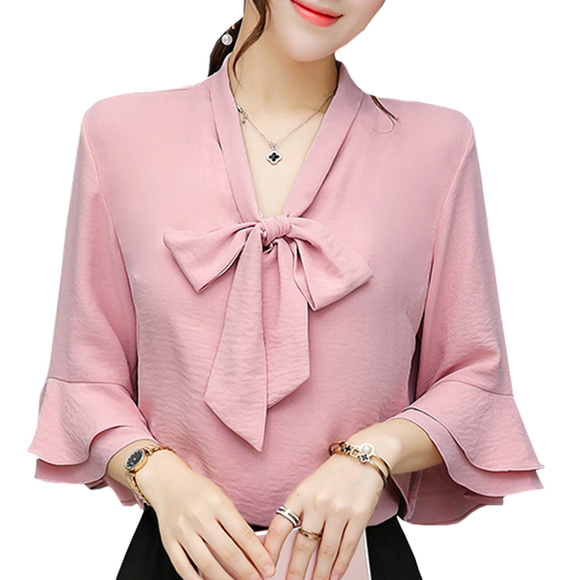 New Lady White Chiffon Blouses Plus Size S-4XL Bow Decor Solid Color Women Casual Design Flare Sleeve Pink Shirts