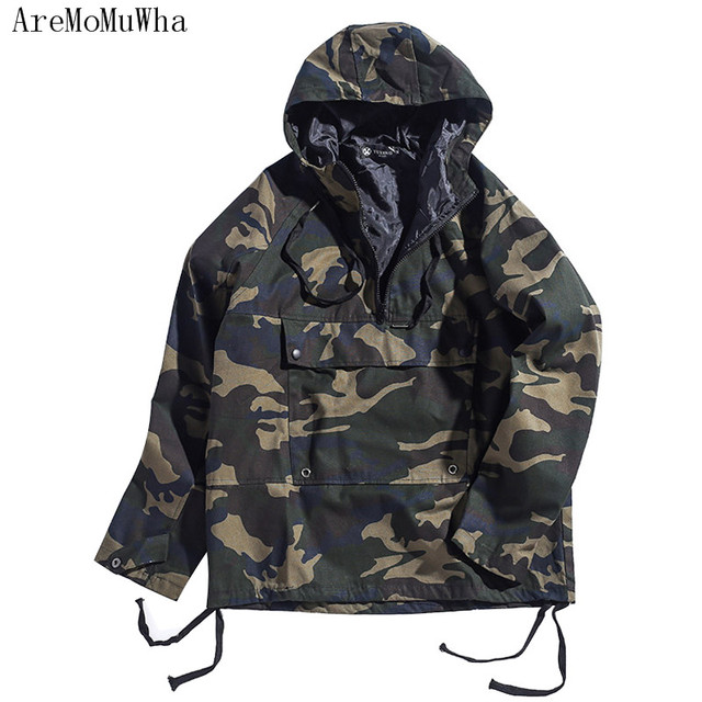 AreMoMuWha Autumn new style Camouflage canvas hooded pullover  Youth big pocket hip hop loose coat Thin jacket tide QX063
