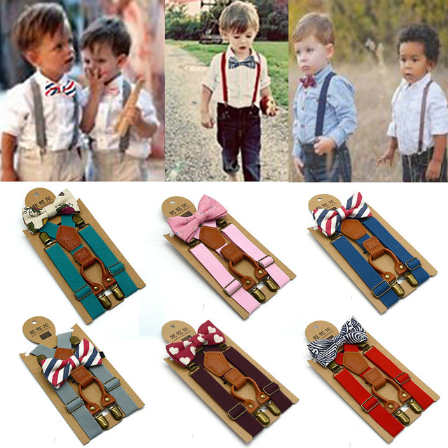 NEW High Elastic elastic Butterfly knot Kids Baby Boys toddler Wedding Matching Braces Suspenders and Luxury Bow Tie Set