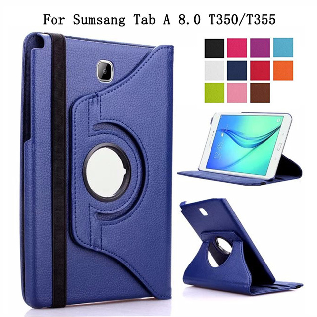 360 Degree Rotating Smart Case For Samsung Galaxy Tab A 8.0 T350/T351/T355 Coque Funda PU Leather Flip Stand Tablet Cover
