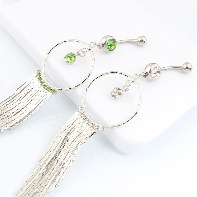 Wholesale Bigger Ring Chain Tassels Dangle Ring  Navel Ring Belly Ring Body Piercing Jewelry5pcs/lot