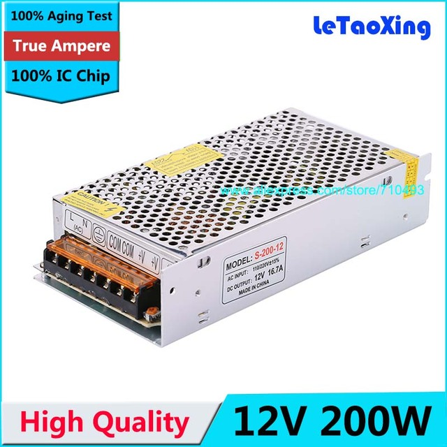 AC DC 16.7A Regulated Switching Power Supply 12V 200W Swich Driver Adapter Voltage Transformer DC12V for LED Strip Light Display