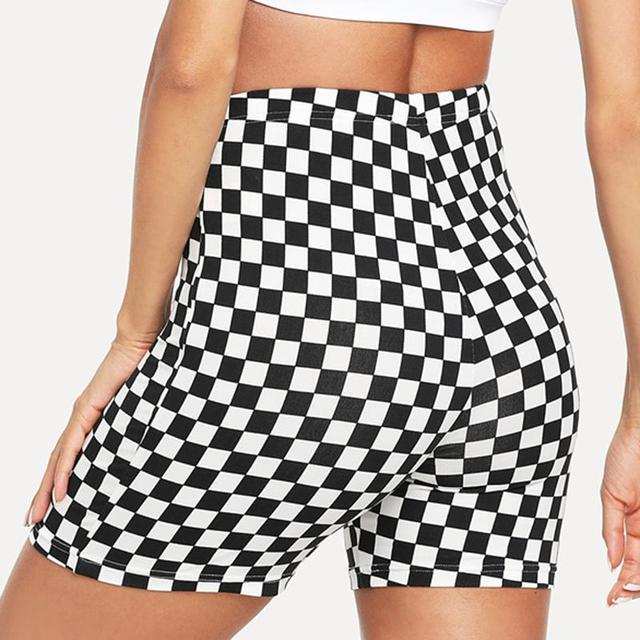 2020 Plus Size Summer Black White Plaid Shorts Women Sexy Push Up Short Shorts Streatwear Casual Shorts For Women