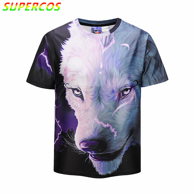 Free Shipping! Newest Good Quality Summer Cool Comfortable 3D Artistic Snow Wolf Print High Street Short Sleeve T-shirt