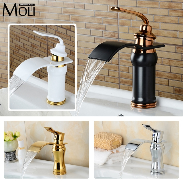 MOLI Bathroom Waterfall Basin Faucet Deck Mounted Single Handle Dual Control Water Tap Washbasin Faucets Bronze Mixer MLWB907