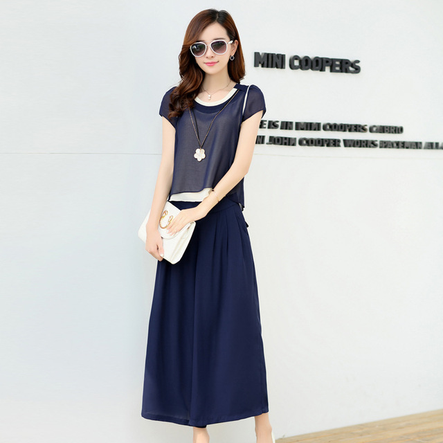 2015 spring and summer women's suits short-sleeved blouse was thin wide leg pants plus European and American models track suit.