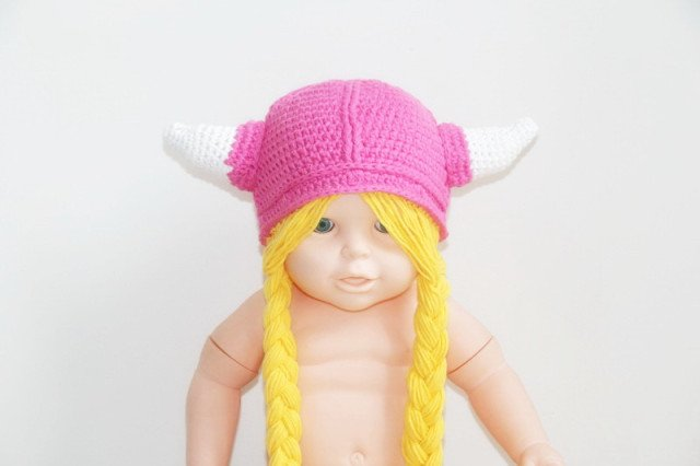 Girl Viking Hat with Braids , Infant Viking Girl Hat , Crochet Vikings lovely pink hat , Infant Halloween Hat Beanie