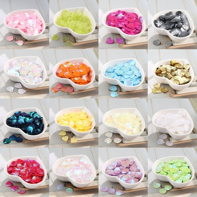 iSequins 200Pcs 13mm Sea Shell Shape Sequins Paillettes DIY Sewing Embellishment Findings Wedding Craft, Women Cloth Accessories
