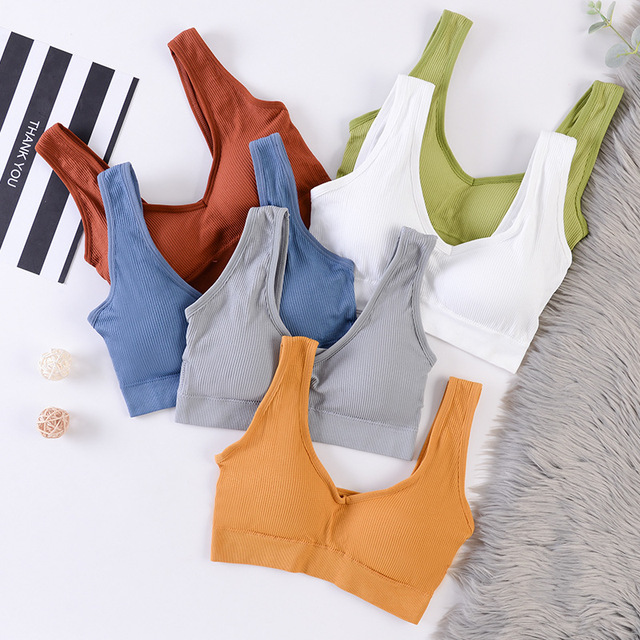 Fashion Women Tank Crop Top Seamless Underwear Female Crop Tops Sexy Lingerie Intimates With Removable Padded Camisole Femme
