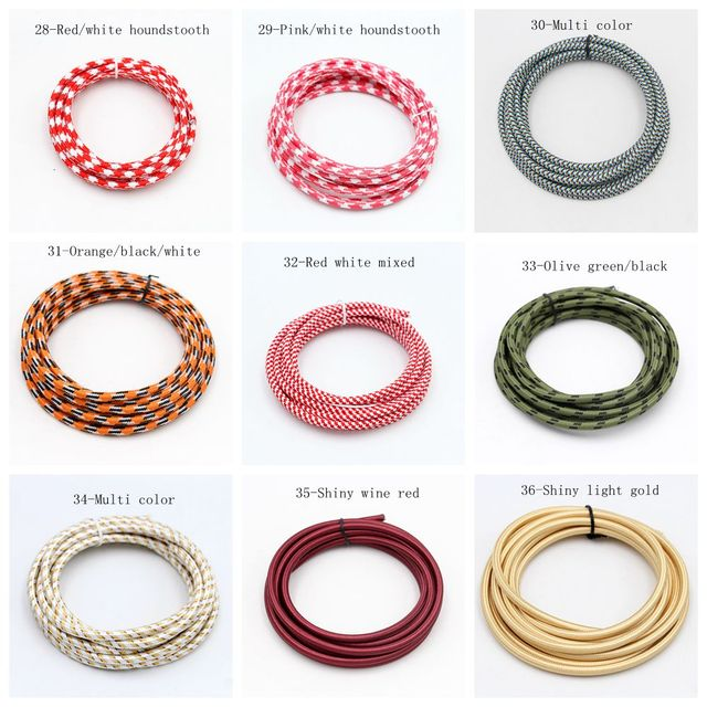 50m VDE 2 Core Round Textile Cable Electrical Wire Color Braided Wire Fabric Cable Vintage Lamp Power Cord