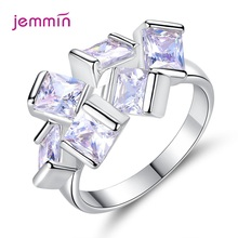 Novel Shape Crystal Round Finger Rings For Women Genuine 925 Sterling Silver Rings New Fashion Jewelry Birthday Wedding Gift
