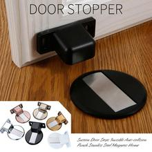 1pc Door suction device Suction Door Stops Invisible Anti-collision Punch Stainless Steel Magnetic Home Free post @30