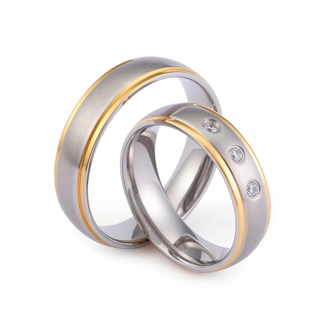 Fashion Gold Stainless Steel Couple Rings Bohemia Rhinestone Silver Brushed Rings For Women Wedding Bands Jewelry Gifts