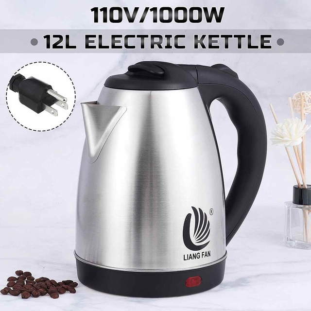 2L Electric Kettle Stainless Steel Portable Water Heater Travel Household Kitchen Fast Heating Water Boiler Boiling Pot 110V