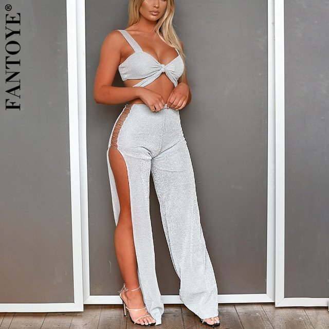 FANTOYE Sexy Shiny Strapless Two Piece Set Women Summer Crop Top And Split Wide Leg Pants 2 Piece Set Women Two Piece Outfits