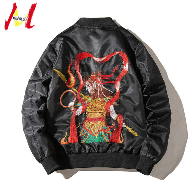 MANVALUE Spring And Autumn Men's 2019 New Style MA-1 Air Force Pilot Suits China Anime Nacha Embroidered Popular Jackets