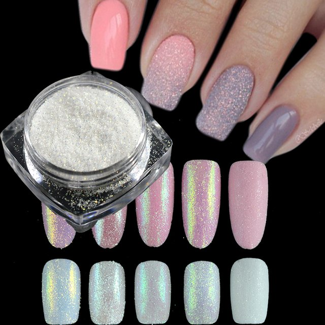 1g Dazzling Sugar Holographic Glitter Pigment Nail Art Glitter Dust Mermaid Glimmer Powder Nail Decorations Manicure TRTY01-05