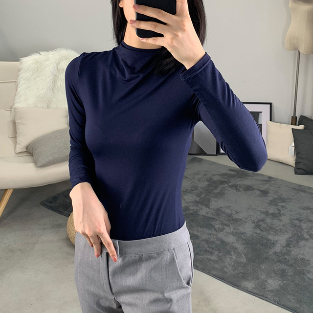 Female T-shirt 2019 New Early Autumn Modal Half-high Collar Bottoming Shirt Long-sleeved Shirt Tight-fitting Wild Women's Shirt