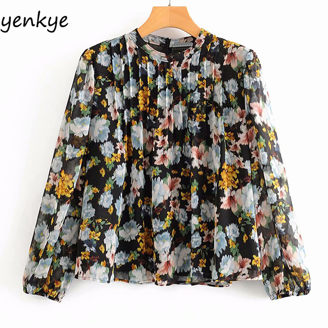 Vintage Floral Print Women Blouse Long Sleeve Round Neck Casual Pleated Summer Chiffon Tops Plus Size blusas  AAZZ9636