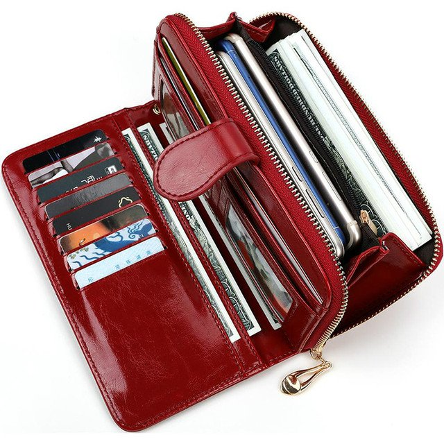 Leather Women Wallets Women Purses Fashion Long Zipper Women's Wallet Money Coin Holder Female Long Purse Female Purse Zipper