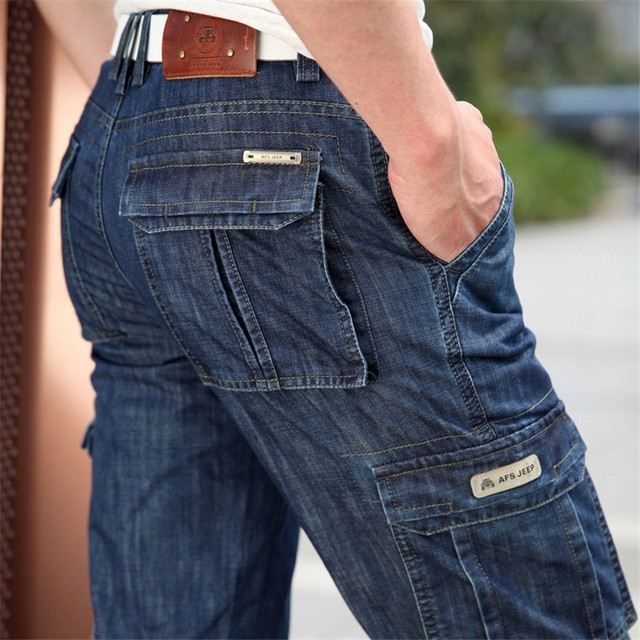 Cargo Jeans Men Big Size 29-40 42 Casual Military Multi-pocket Jeans Male Clothes 2017 New High Quality