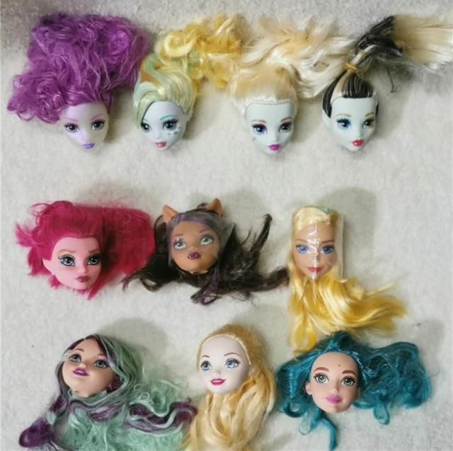 10pcs Monster Doll Head with Hair PVC Devil Naked Dolls Heads Toy Kids DIY Babie Accessories Articles Child Education Toy Gift
