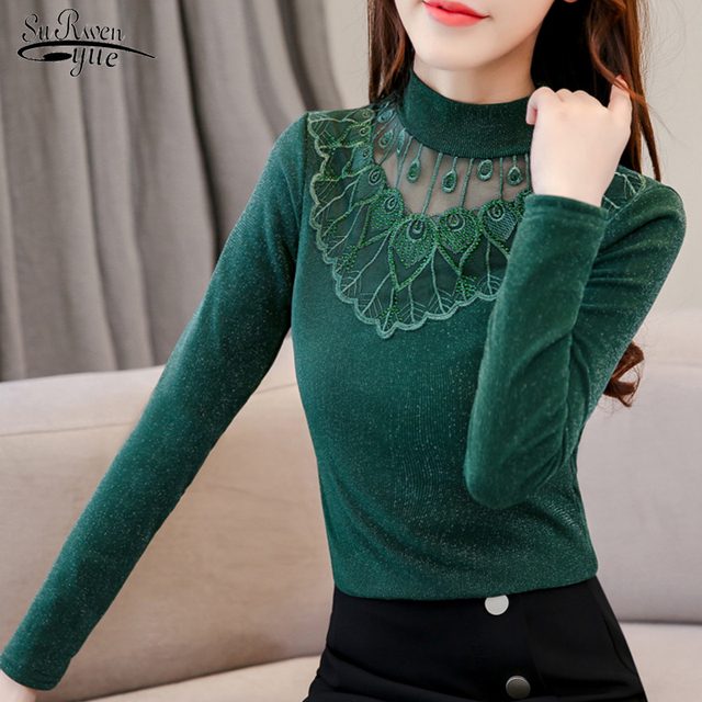 2021 New Long Sleeve Solid Blouse Women Tops Casual Slim Plus Size Pullover Shirt Women Lace Turtleneck Chemisier Femme 6346 50