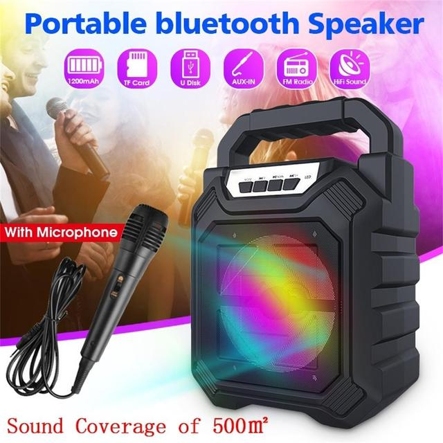 Portable Wireless Bluetooth Speaker Large Sound Stereo FM Radio LED Light Waterproof Portable Outdoor Speaker with Microphone