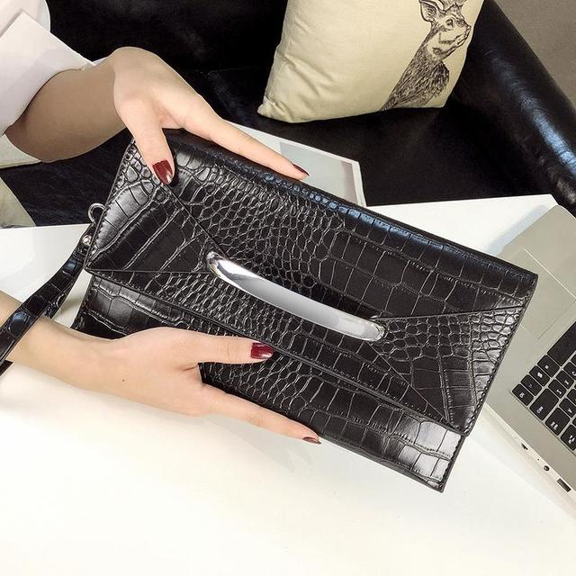 Envelope Clutch Bag Women Handbag PU Leather Clutch Purse Crocodile Pattern Wallet Casual Money Phone Pouch Party Bag ZD1446