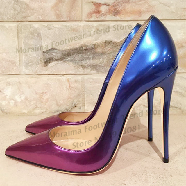 Moraima Snc 12cm Thin Heels Woman Pumps Sexy Pointed Toe Gradient Colors Leather Shoe Fashion Office Lady Shoe