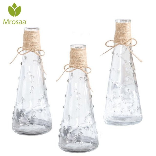 2019Hot Nordic Glass Vases Living Room Table Decor Transparent Water Hydroponics Flower Rope Dry Flower Vase DIY Valentine's Day